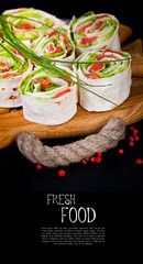 Roll pita with salad and salted salmon