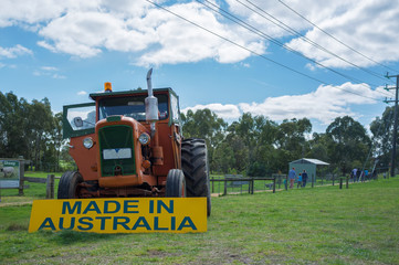 """Old Tractor with Sign """"Made in Australia"""""""