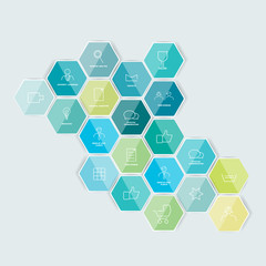 Set of lined icon. Hexagonal template. Vector.