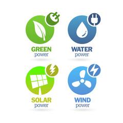 Green - Ecology - Power - Renewable icon set