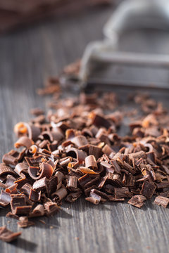 Chocolate curls made with a potato peeler