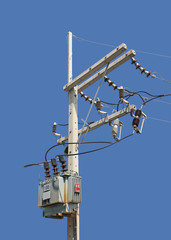 High Voltage Pole with Transformer isolated on Blue Background