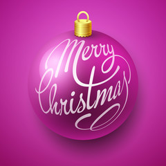 Merry Christmas Bauble with Lettering design