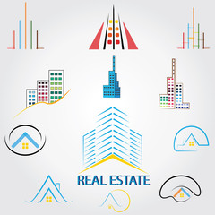 real estate logo,house property ,Skyscrapers business logos