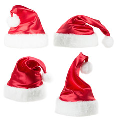 set of Santa Claus hat  isolated on the white background