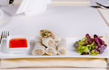 Healthy Meaty Spring Rolls with Veggies and Sauce