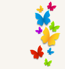 Spring card with butterflies, colorful composition