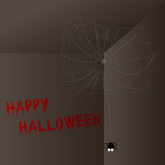 Happy Halloween with spider and cobwebs