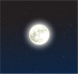Moon on a starry dark blue night sky vector