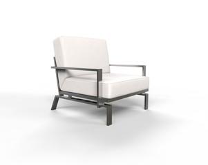 White modern armchair on white background.