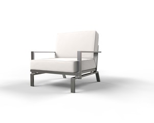White modern armchair on white background - right side view.