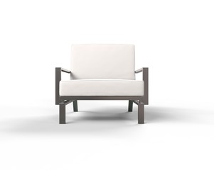 White modern armchair on white background - front view.