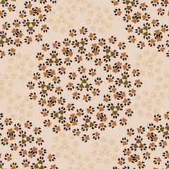 seamless vector pattern of paw footprint-illustration