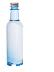 A plastic bottle of mineral water over white background