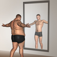Human man fat and slim concept