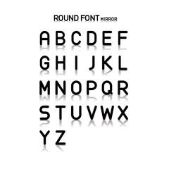 Vector alphabet, Simple round font, mirror effect