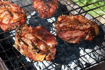 Roasted meat on grill outdoor  in summer