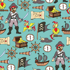 Vector pattern with colorful symbols of piracy