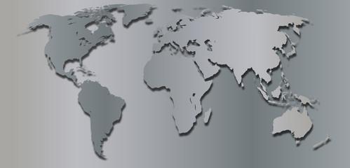 Aluminium Prints World Map mappemonde argent