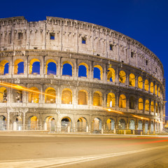 Foto op Canvas Rome Colosseum in Rome with car lighting, Italy