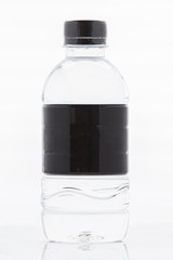 Black label water bottle isolated on white background