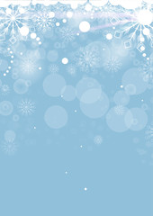 Christmas card with white snowflakes