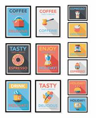Coffee poster flat banner design flat background set, eps10