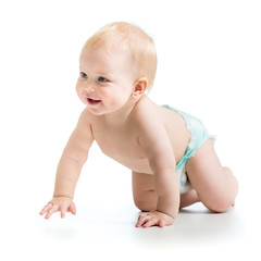 cheerful crawling baby boy isolated on white background