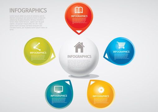 info graphics - five, section, Venn diagram