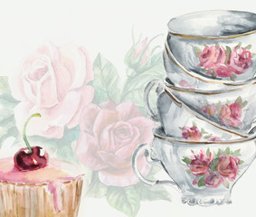 Tea time card. Cup and cake.