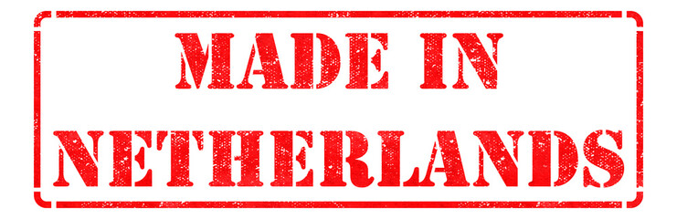 Made in Netherlands - Red Rubber Stamp.
