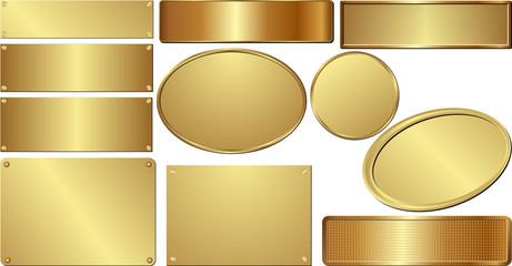 set of golden plaques
