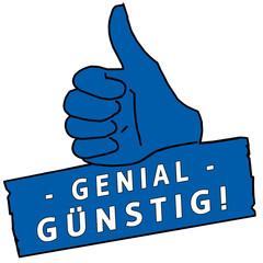 tus145 ThumbUpSign tus-v24 - Genial Günstig - blau g2245