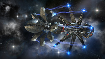 Futuristic military spacecraft initiating a warp drive