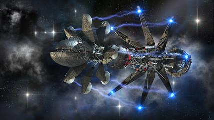 Futuristic military spacecraft initiating a warp drive