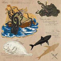 Pirates - Sea Monsters. Hand drawn and Mixed media