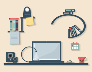 Vector flat design illustration of business office