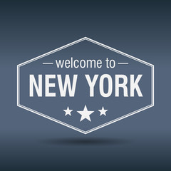 welcome to New York hexagonal white vintage label