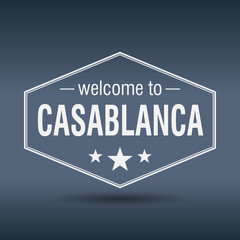 welcome to Casablanca hexagonal white vintage label