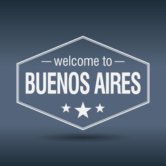 welcome to Buenos Aires hexagonal white vintage label