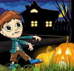 Zombie boy near the haunted house