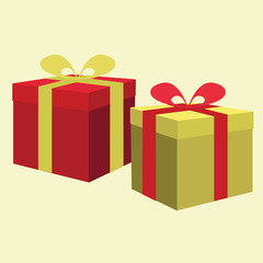 present boxes with a ribbon. vector illustration