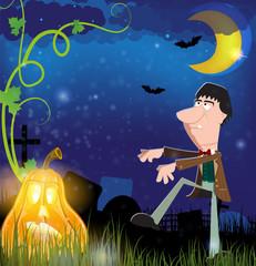 Evil zombie and jack o lantern