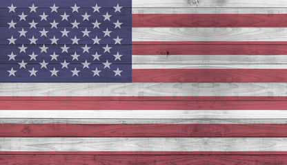 Usa flag wood plank wall texture background