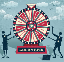 Abstract Business people with Financial Wheel of Fortune.