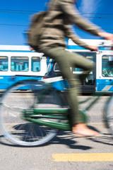 City transportation concept - commuting methods - on bike
