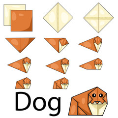 Illustration of dog origami