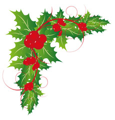 Christmas holly leaves ornaments