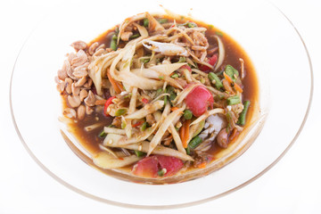 papaya salad on white background