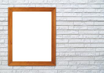 blank wood frame on brick stone wall